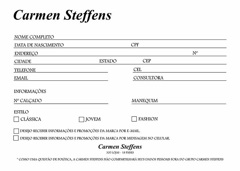 Ficha de Cadastro 17,5x12,5 Couchê 300g 1x0 Carmen Steffens